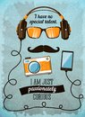 Hipster poster with vintage accessories and items vector illustration Royalty Free Stock Image