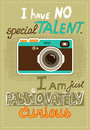 Hipster poster with vintage camera and message vector illustration Royalty Free Stock Photo