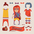 Hipster pretty girl with hipster accessories eps vector illustration Royalty Free Stock Photo