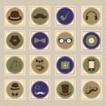 Hipster retro stamp icon set vintage vector illustration Royalty Free Stock Photography