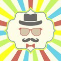 Hipster s hat glasses moustache on retro background Stock Photo