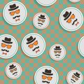 Hipster s hat glasses moustache stickers seamless pattern Stock Images