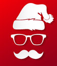 Hipster santa claus silhouette vector illustration of paper in style Stock Image