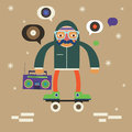 Hipster on scateboard with boombox