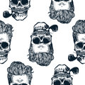Hipster seamless pattern with skulls silhouettes, Skull silhouette in vintage engraving style mustache, beard, tobacco pipes. Blac