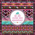 Hipster seamless tribal pattern with geometric elements and quotes typographic text Stock Photography