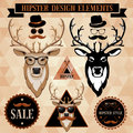Hipster set with deer face labels and inscriptions Royalty Free Stock Images