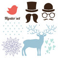 Hipster set isolated with deer bird glasses hat and beard Royalty Free Stock Photo