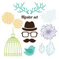 Hipster set with men face cage horns and flowers Royalty Free Stock Photos
