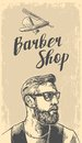 Hipster shave haircut in the BarberShop. Vector black and white illustrations and typography elements. Hand drawn Royalty Free Stock Photo