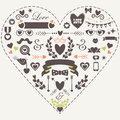 Hipster silhouette love and romantic icons set