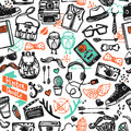 Hipster sketch seamless pattern fashion style clothing attribution accessories and symbols color vector illustration Royalty Free Stock Photos