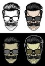 Hipster Skull with hair and mustache wearing sunglasses Royalty Free Stock Photo