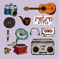 Hipster style music and photo vector hand drawn objects Stock Images