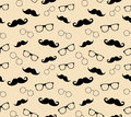 Hipster style pattern, glasses and mustaches. vect