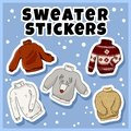 Hipster sweaters stickers set. Collection of colorful doodles labels