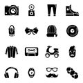 Hipster symbols icons set, simple style