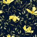 Hipster travel leaf seamless pattern. Hand drawn blue vector background. Vintage floral print of big yellow flowers cosmey Royalty Free Stock Photo