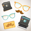 Hipster trendy items vintage collection with glasses mustache camera Stock Images