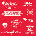 Hipster valentines day typographic banners and messages set of valentine s in red white with hearts arrows Royalty Free Stock Photography