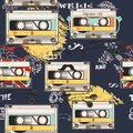 Hipster vector background with old cassette headphones Royalty Free Stock Photo