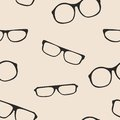 Hipster vector glasses seamles pattern or backgrou seamless black beige background black thick holder retro illustration with Royalty Free Stock Photography