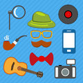 Hipster web and mobile icons set. Vector. Royalty Free Stock Photo