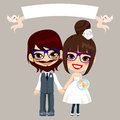 Hipster wedding couple illustration of lovely sweet young with empty banner held by flying birds Stock Photo
