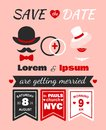 Hipster wedding invitation card of lorem and ipsum template vector illustration Stock Images