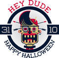 "Hipster zombie character ""hey dude happy halloween"" Stock Photo"