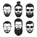Hipsters bearded men with different hairstyles mustaches beards