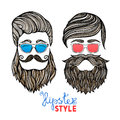 Hipsters heads colored glasses doodle pictograms two hipster hair style men with blue and red abstract vector isolated Royalty Free Stock Photo