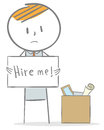Hire me doodle stick figure a businessman is looking for a job after being fired Royalty Free Stock Images
