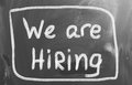 We are hiring concept handwritten with chalk on a blackboard Royalty Free Stock Photo