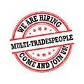 We are hiring mutli-tradespeople - job advertising Royalty Free Stock Photo