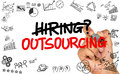 Hiring or outsourcing concept