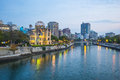 Hiroshima cityscape with the atomic dome memorial ruins Royalty Free Stock Image