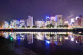 Hiroshima cityscape japan nighttime on the otagawa river Stock Photography
