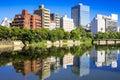 Hiroshima japan cityscape on the otagawa river Royalty Free Stock Photo