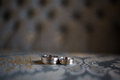 His and hers matching wedding bands Royalty Free Stock Photo
