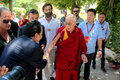 His holiness the xiv dalai lama tenzin gyatso photographed in pomaia pisa italy during conference tsong khapa institute Stock Photo