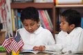 Hispanic Boys in Home-school Studying Rocks Royalty Free Stock Photo
