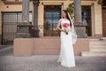 Hispanic bride outside a courthouse Royalty Free Stock Photo