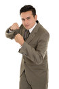 Hispanic businessman boxing isolated on a white background this image has attached release Royalty Free Stock Photo
