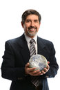 Hispanic businessman holding earth portrait of isolated over white background Royalty Free Stock Photography