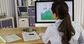 Hispanic businesswoman analyzing charts on computer Royalty Free Stock Photography