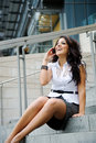 Hispanic businesswoman on the phone Stock Photo