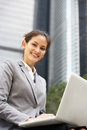 Hispanic Businesswoman Working On Laptop Royalty Free Stock Image