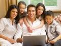 Hispanic family shopping online Royalty Free Stock Images