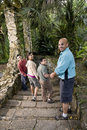 Hispanic family walking down stairs outdoors Stock Photo